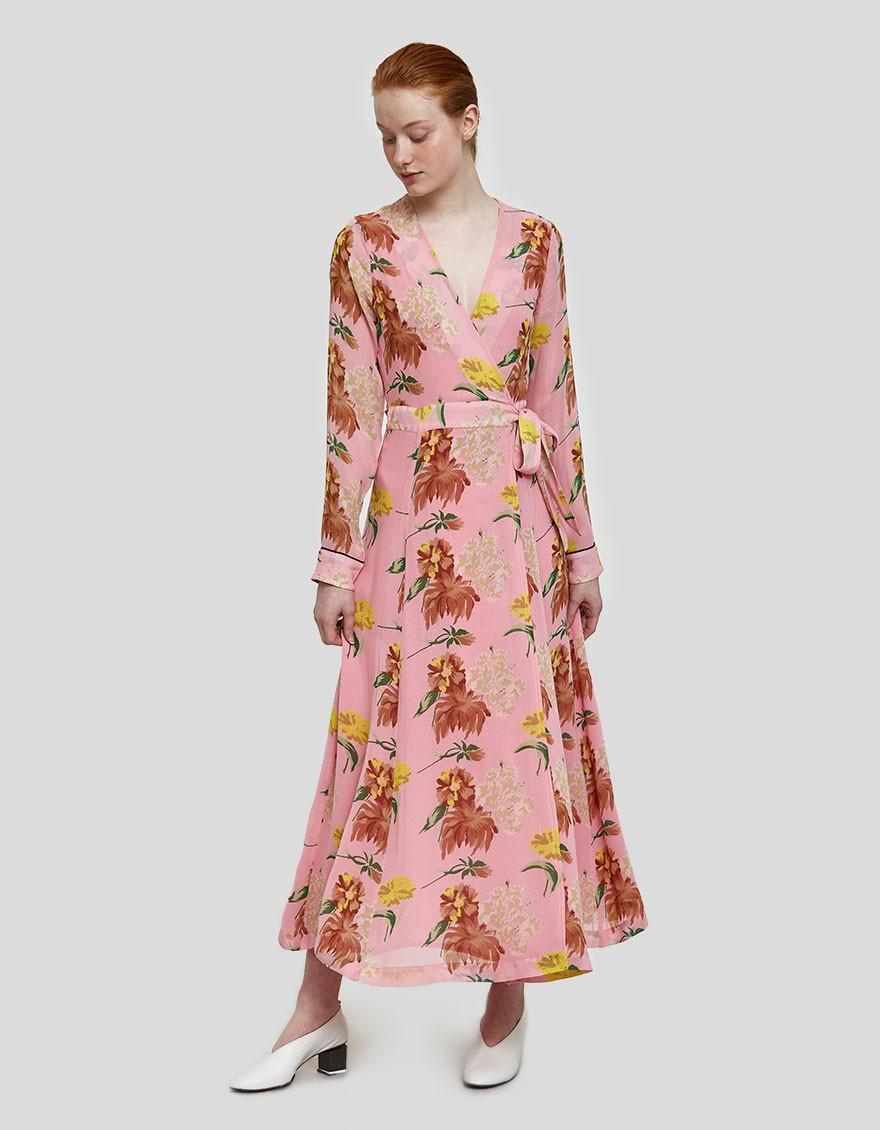 Pink Georgette Dress Lyst In Maxi Marceau Ganni Sea xw0gxpqH1P