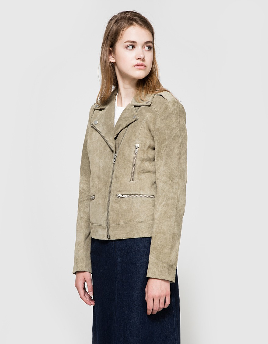 Just female Direct Suede Jacket In Green in Green  Lyst