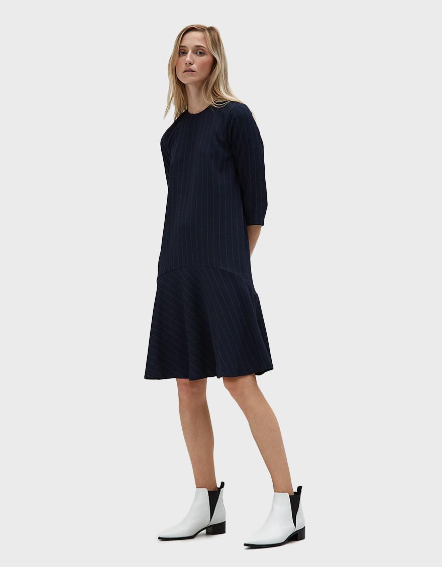 0a5ea42a Ganni Clark Ruffle Hem Dress in Blue - Lyst