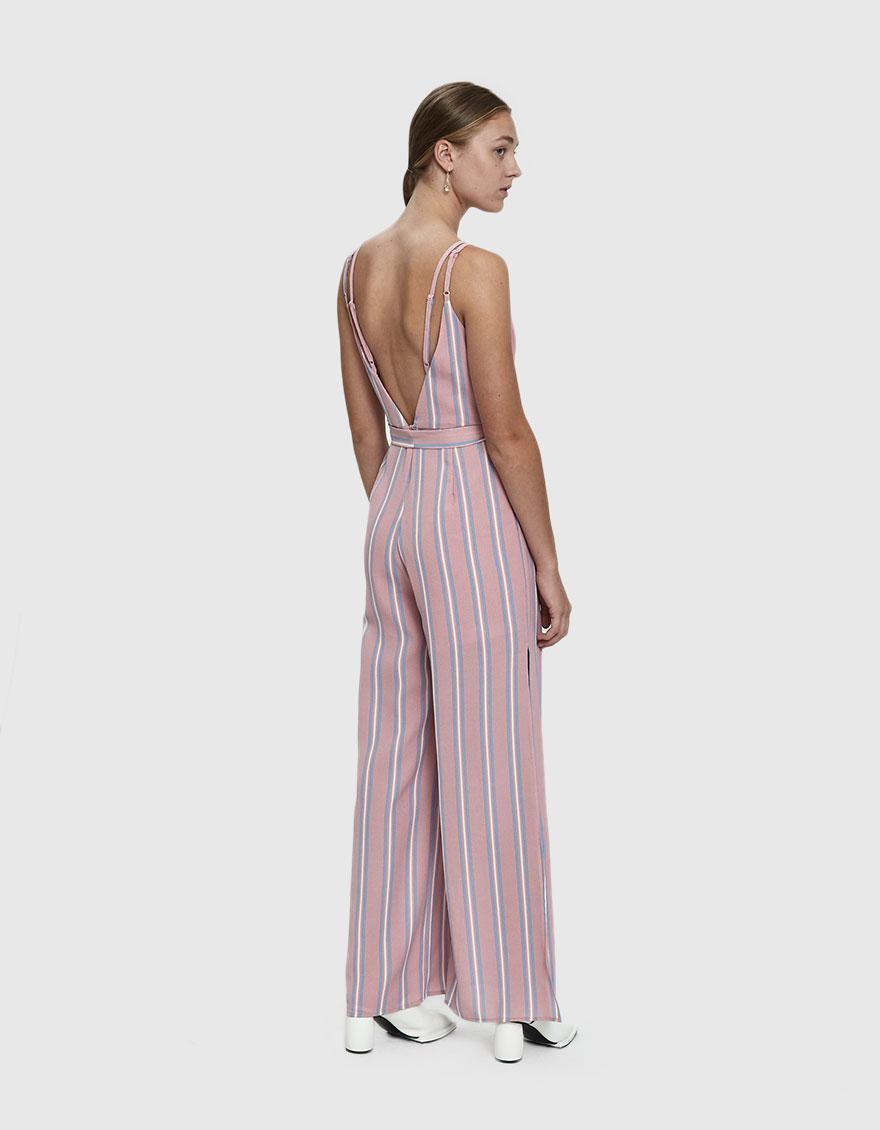 7f3cf03e7698 Lyst - Farrow Harrison Striped Tie Waist Jumpsuit in Pink