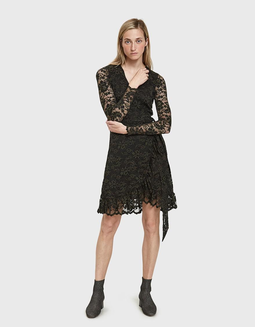 dddc8de2 Ganni Flynn Lace Wrap Dress in Black - Lyst