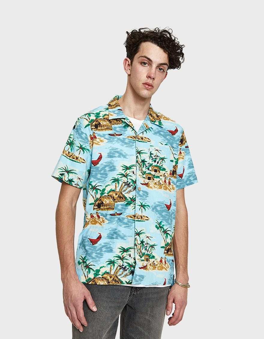 810dfad0 Levi's Hawaiian Shirt In Pelican Cameo Blue in Blue for Men - Lyst