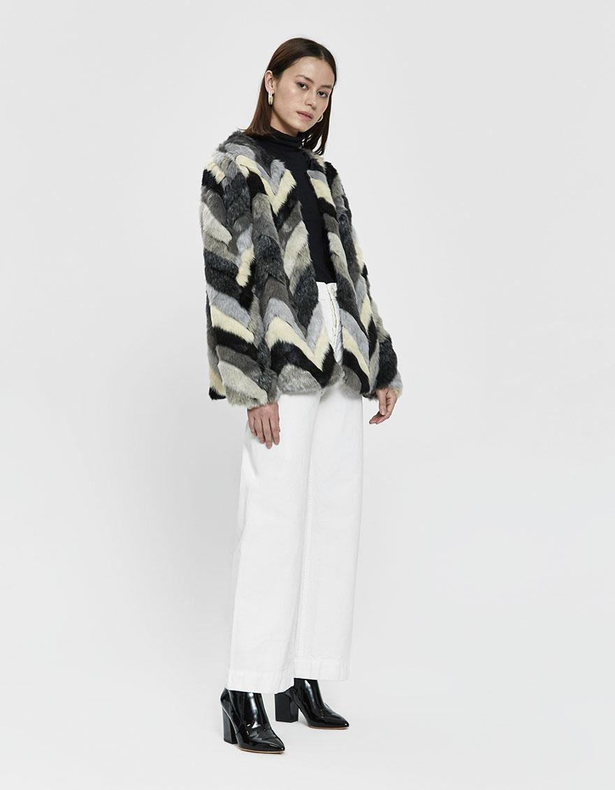 7aa4547b4f0c Lyst - Stelen Gertrude Chevron Faux Fur Coat in Gray
