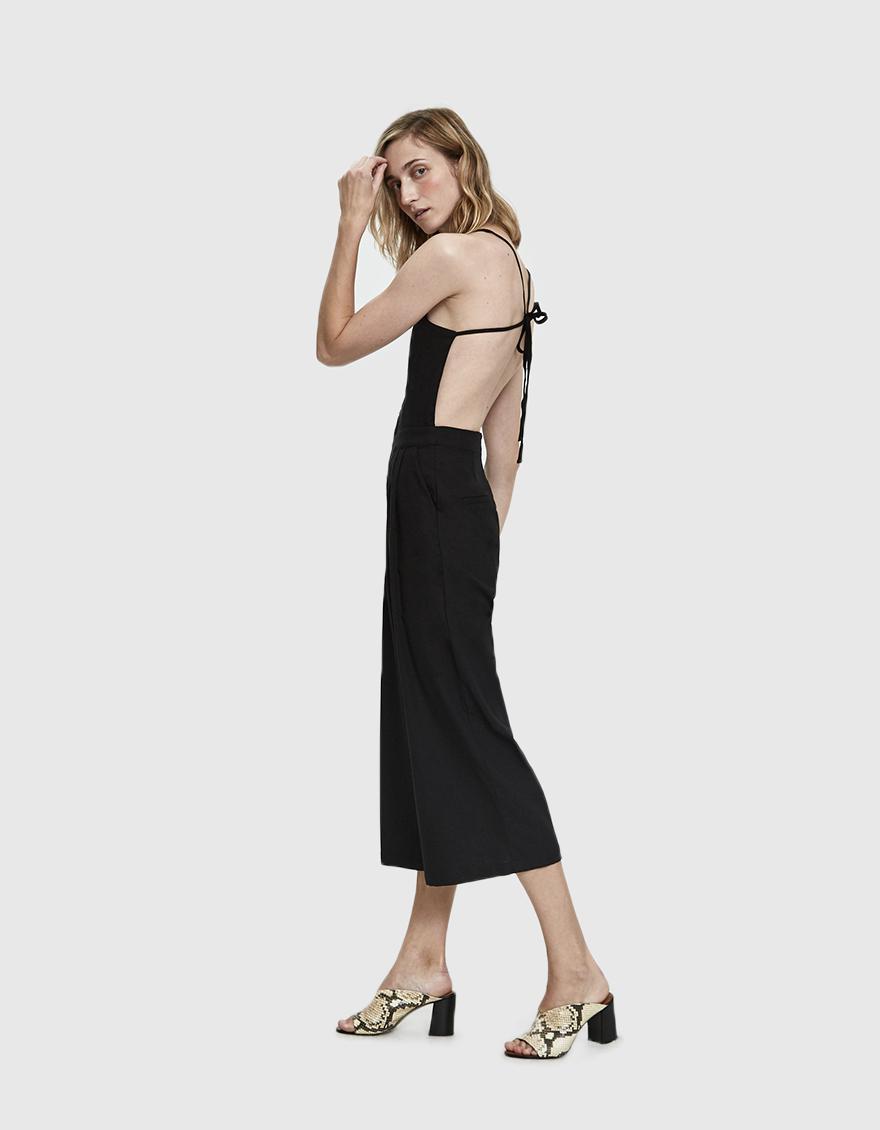 05d1b0cda1f2 Lyst - Farrow Bailey Linen Open-back Jumpsuit in Black