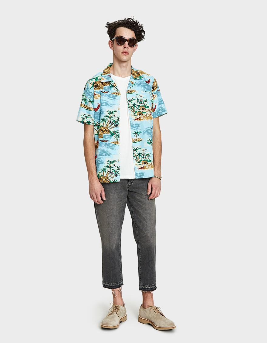 055a5652 Levi's Hawaiian Shirt In Pelican Cameo Blue in Blue for Men - Lyst