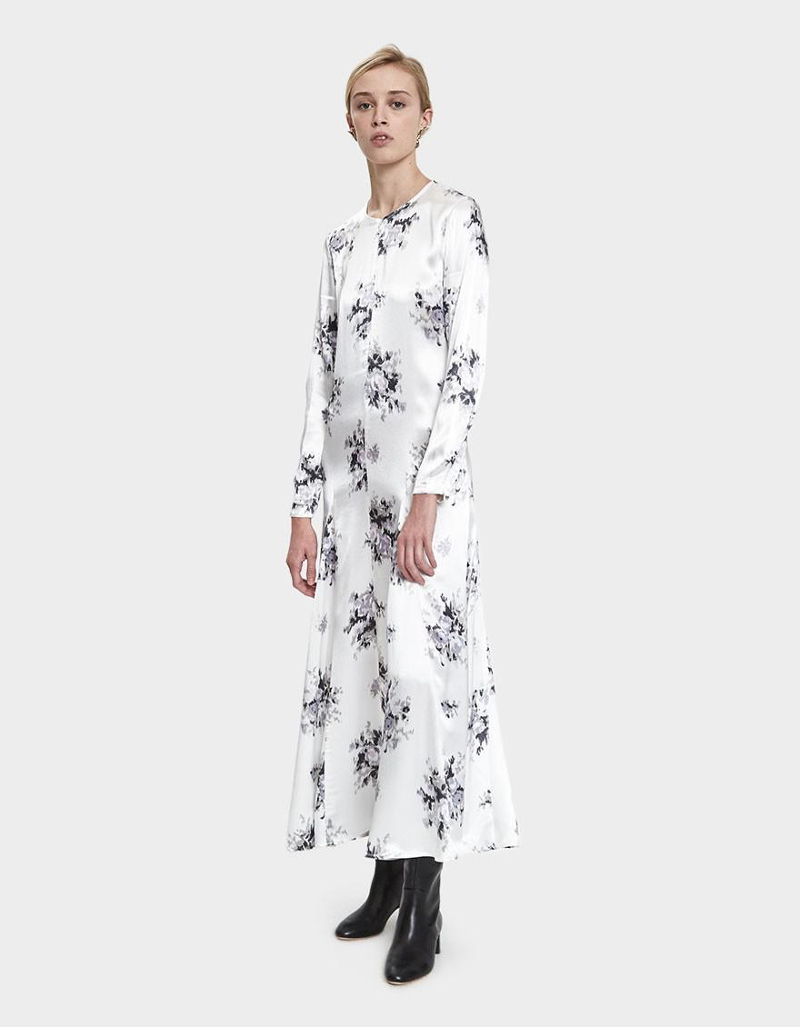 ae53e108 Ganni Cameron Satin Maxi Dress in White - Save 54% - Lyst