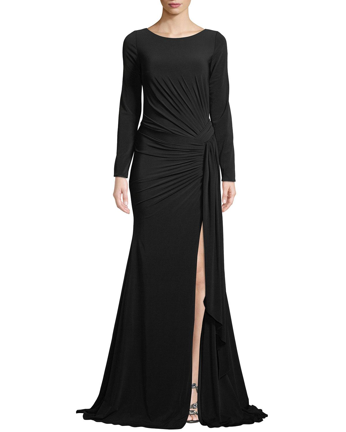 ab06fcd3b716 Lyst - Jovani Long-sleeve Jersey Gown W/ Ruching in Black