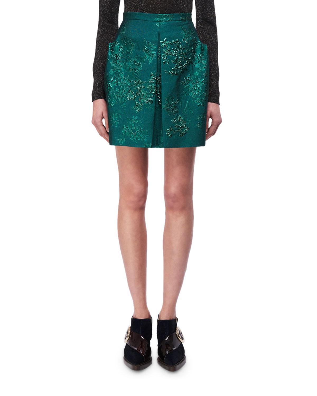 6667725f7f Lyst - Delpozo Metallic Floral Jacquard Miniskirt in Green