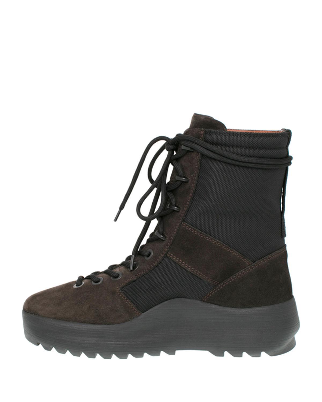 a6da7da0786 Lyst - Yeezy Men s Leather   Textile Military Boot in Black for Men