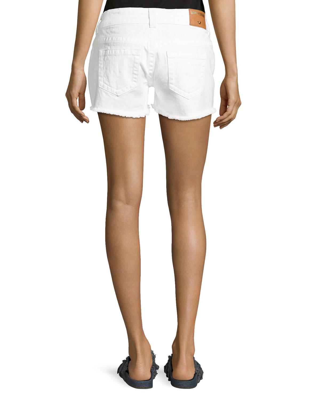 4ec57b179 Lyst - True Religion Keira Low-rise Cutoff Shorts in White
