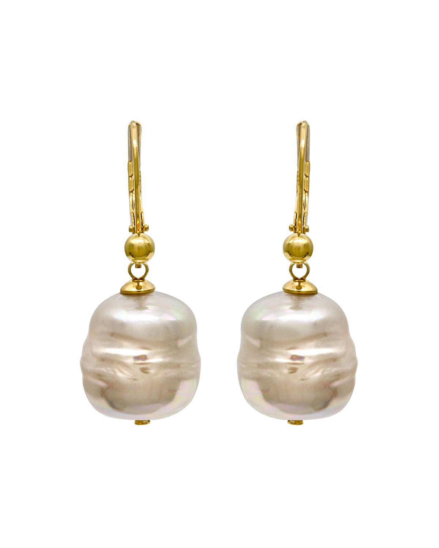 Lyst Majorica 12mm Baroque Pearl Drop Earrings In White