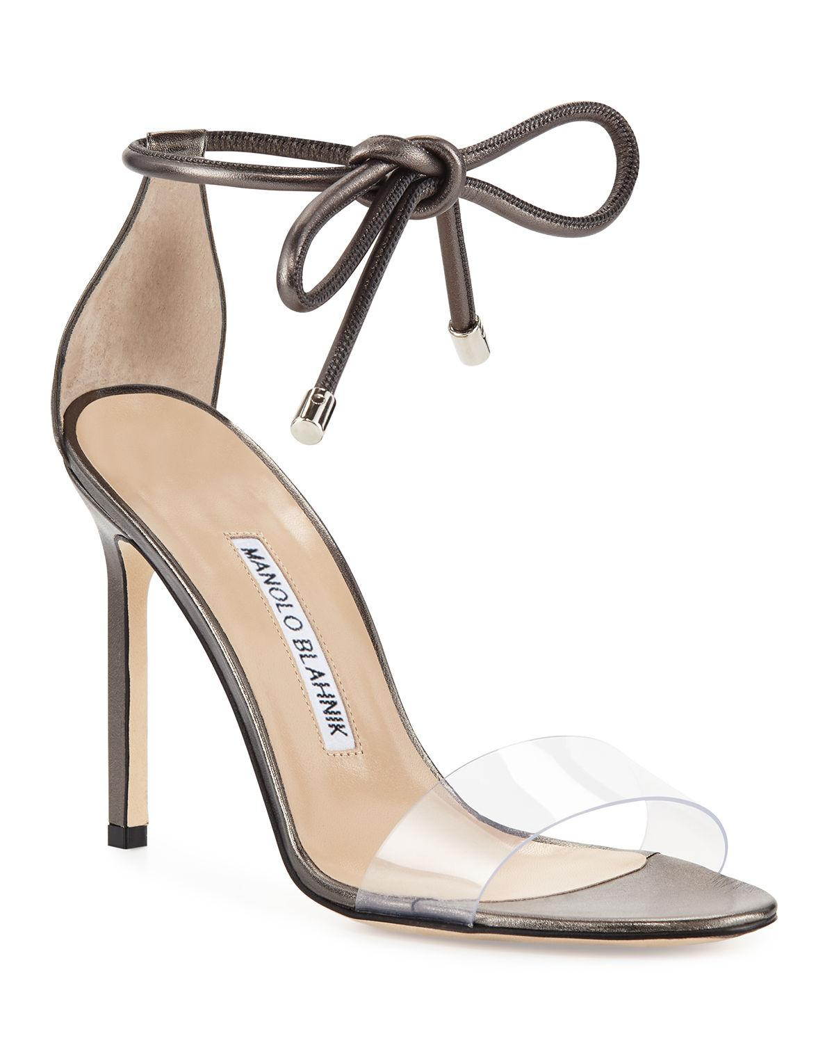 65d374ecd55 Lyst - Manolo Blahnik Estro Leather   Pvc Ankle-wrap Sandals in Metallic