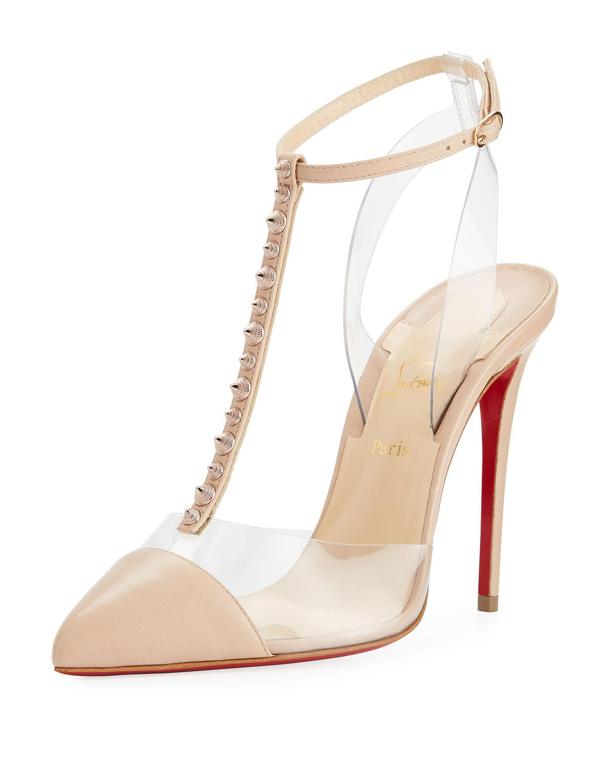 79099134f65 Lyst - Christian Louboutin Nosy Spikes Illusion Red Sole Pump in Natural