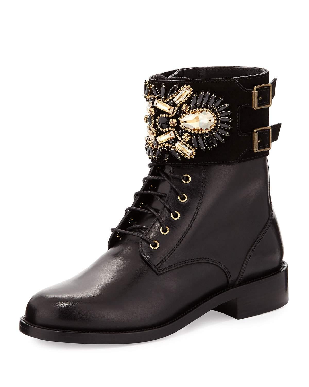 Lyst Rene Caovilla Crystal Cuff Leather Boot In Black