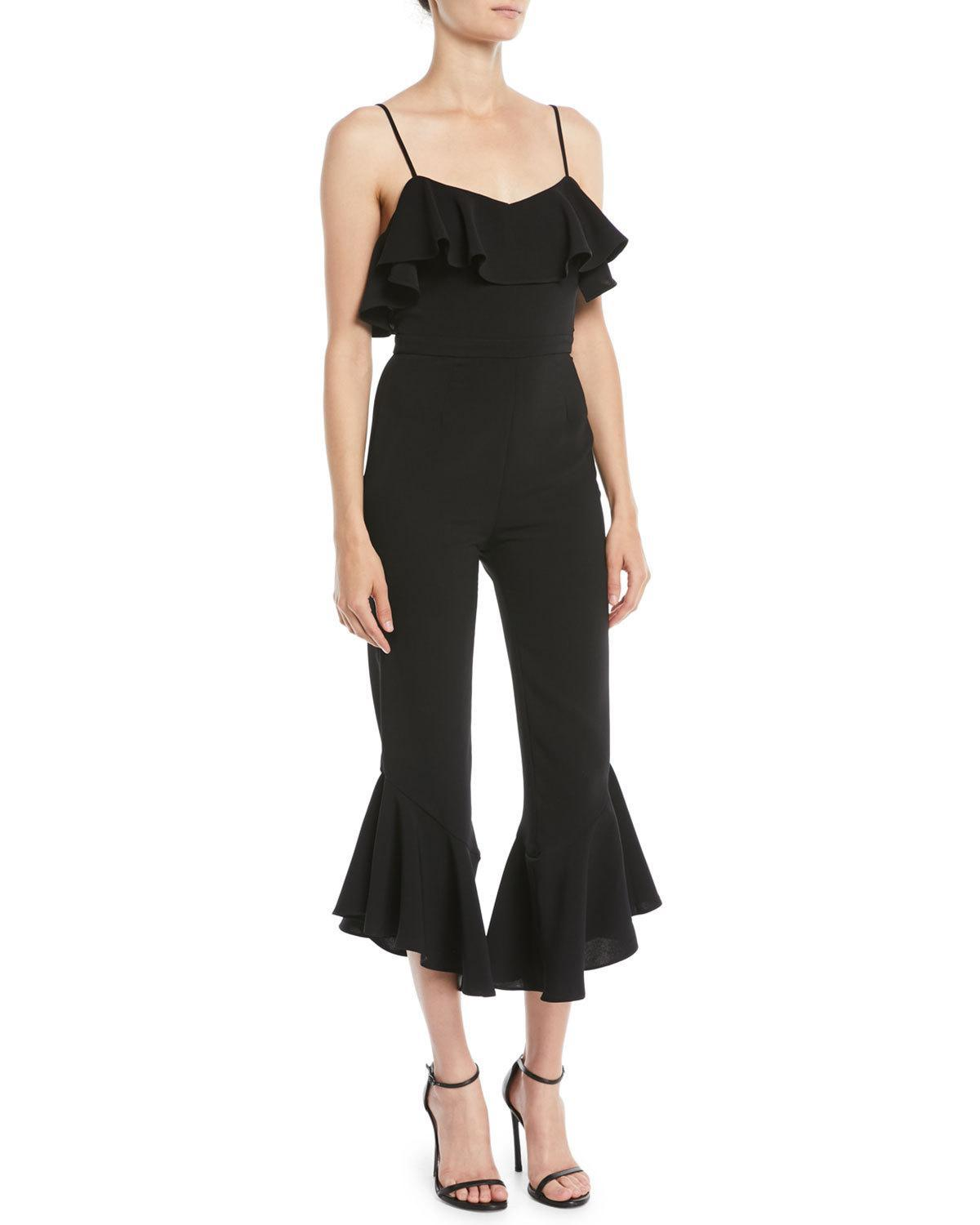 f17bcd67307ab Lyst - Likely Sansone Cropped Ruffle Jumpsuit in Black - Save 50%