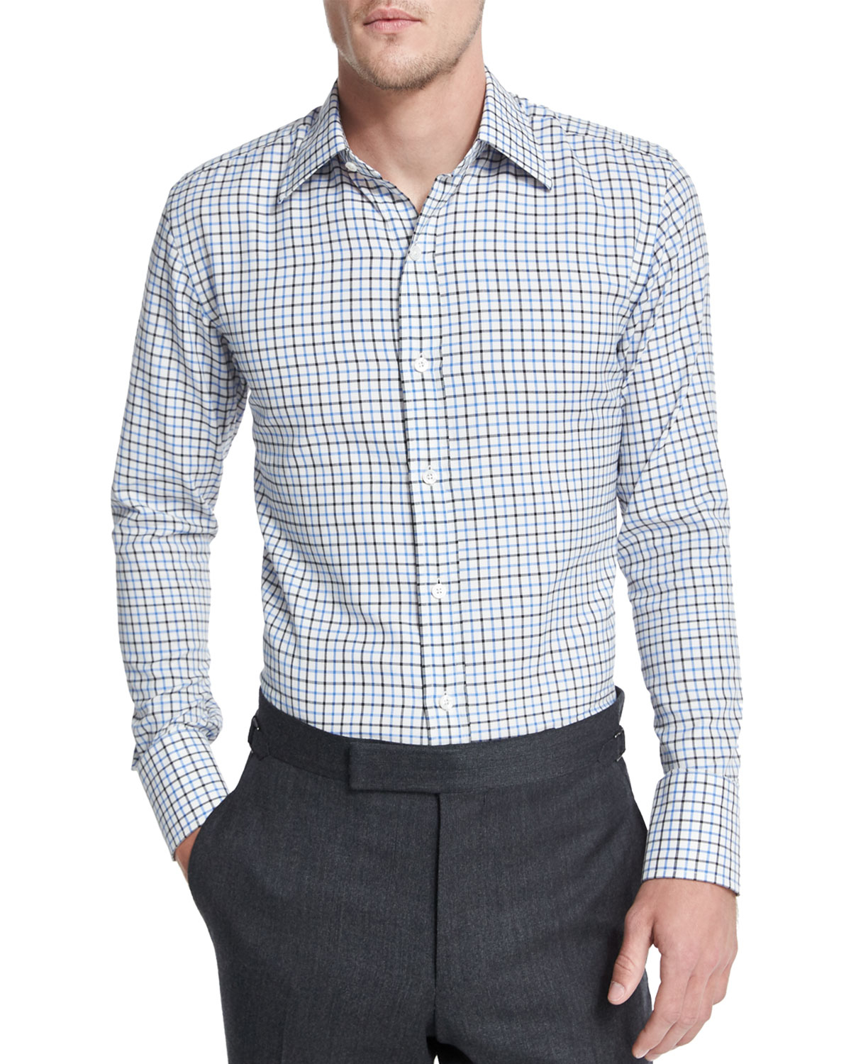 Tom Ford Tattersall Check Dress Shirt In Teal For Men