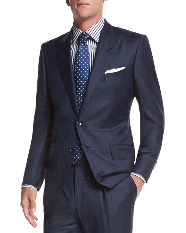 tom ford o 39 connor base sharkskin two piece suit in black. Black Bedroom Furniture Sets. Home Design Ideas