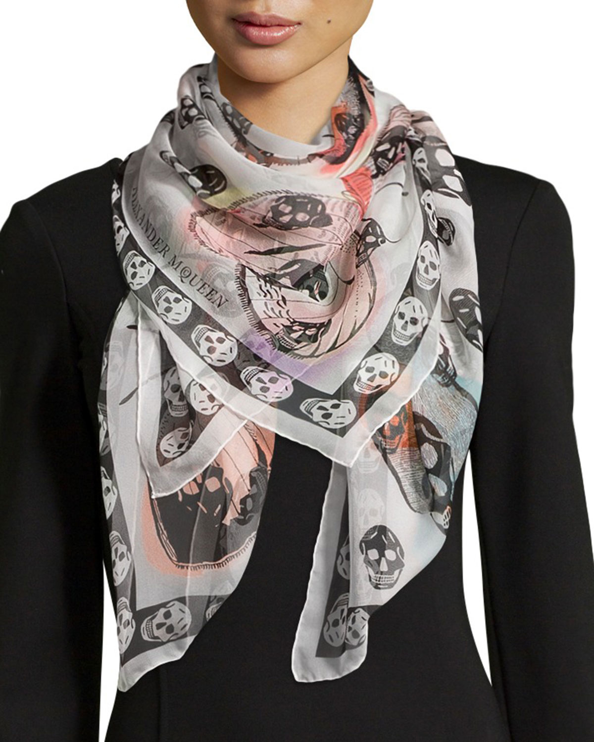 Lyst - Alexander Mcqueen Skull On Butterfly Scarf in White