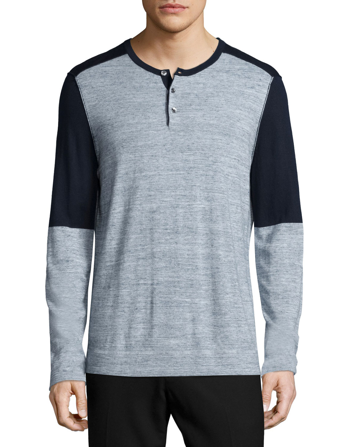 Vince colorblock long sleeve henley shirt in blue for men for Long sleeve henley shirts for men