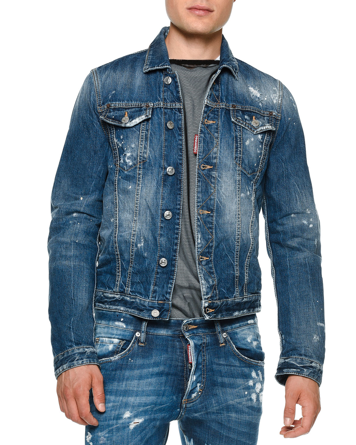 Lyst Dsquared 178 Distressed Button Down Jean Jacket In