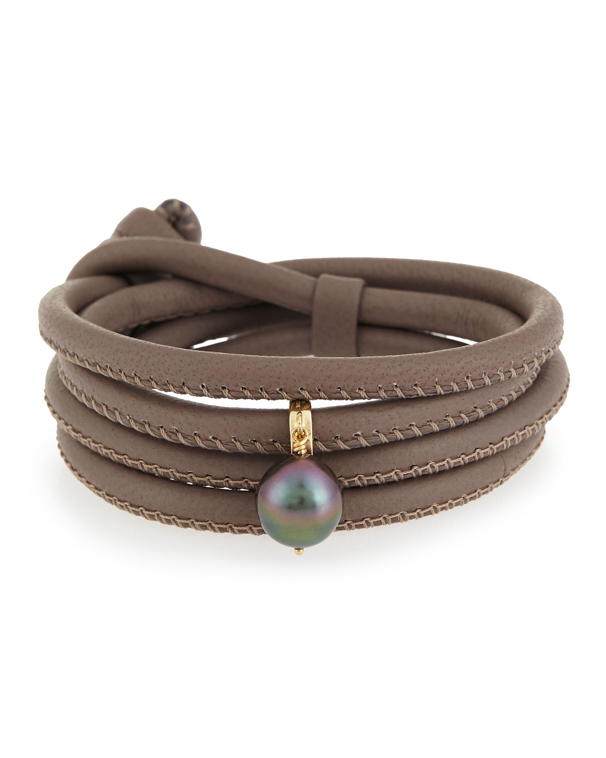 Leather Wrap Charm Bracelet: Mizuki Convertible Leather Wrap Bracelet/choker With Pearl