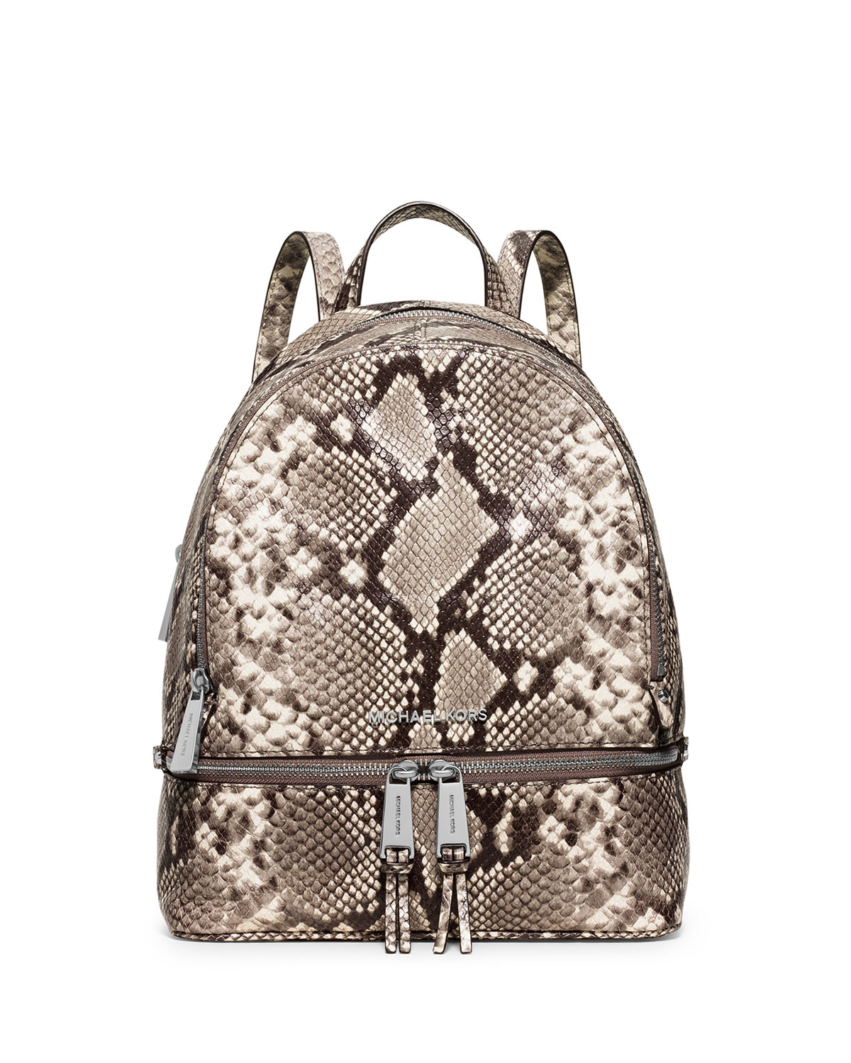 506b808568f5 123456789 a6f8c ca39f; discount code for lyst michael michael kors rhea  embossed leather backpack in natural c7836 3fc30