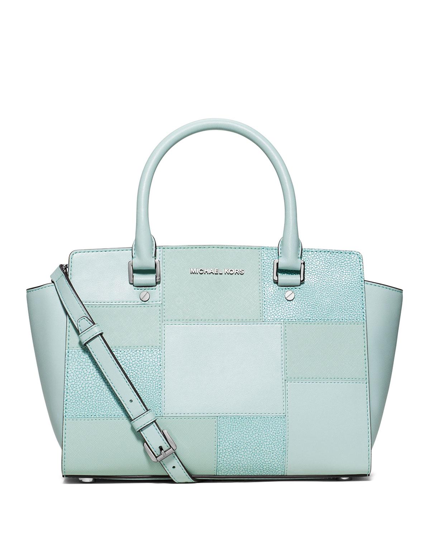 92e1e966eeca MICHAEL Michael Kors - Blue Selma Medium Tile Patchwork Satchel Bag - Lyst