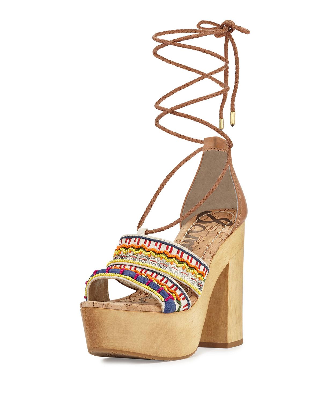 20cc8eb92ac Lyst - Sam Edelman Mel Embroidered Wooden Platform Sandal