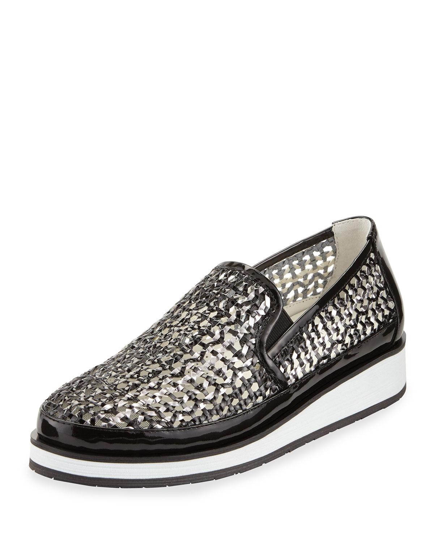 Donald j pliner Maze Woven Leather Slip-on Sneaker in ...
