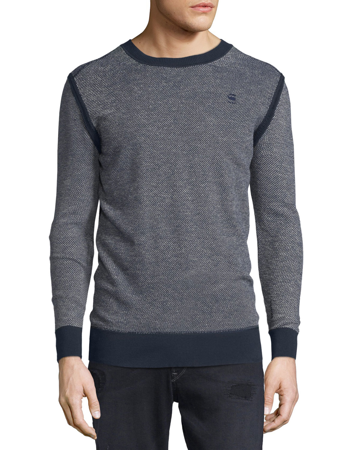 g star raw dimder textured knit crewneck sweater in gray. Black Bedroom Furniture Sets. Home Design Ideas