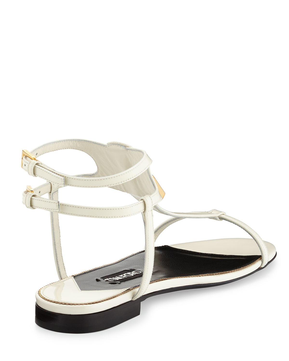 tom ford patent lock t flat sandals in white lyst