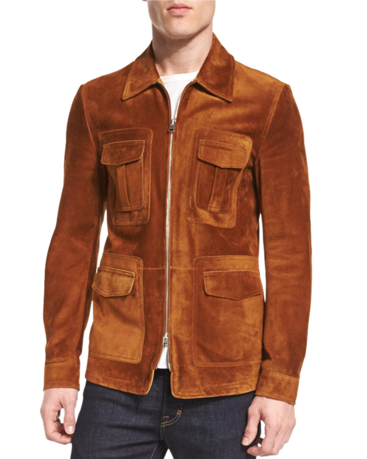 Lyst Tom Ford Cashmere Suede Zip Jacket In Brown For Men