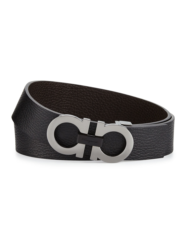 Ferragamo Double-gancini Buckle Leather Belt in Black