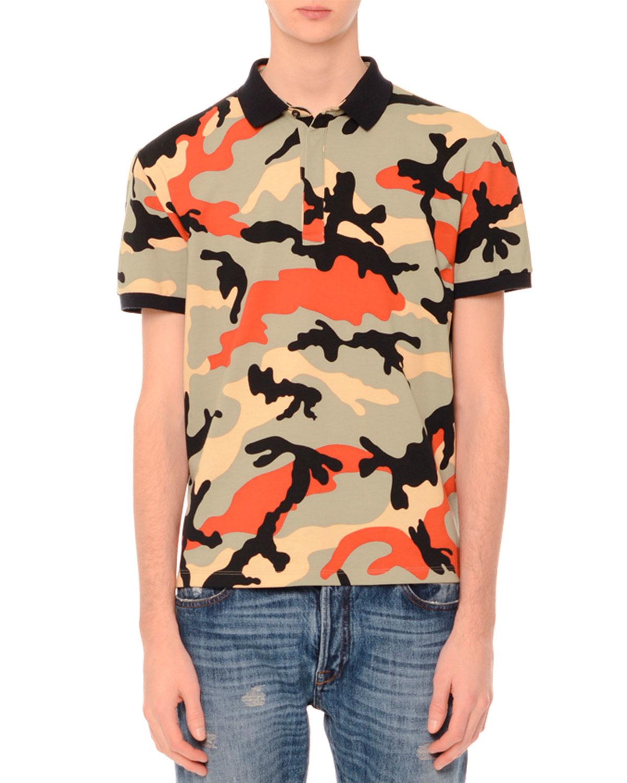 Valentino camo print short sleeve polo shirt in multicolor for Camo polo shirts for men