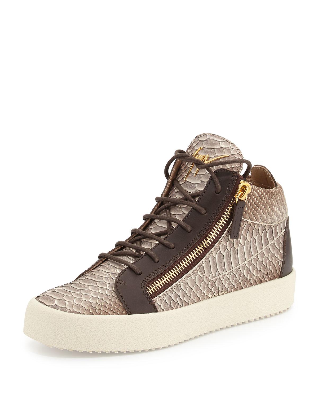 giuseppe zanotti men 39 s snake embossed leather mid top sneaker in brown for men lyst. Black Bedroom Furniture Sets. Home Design Ideas