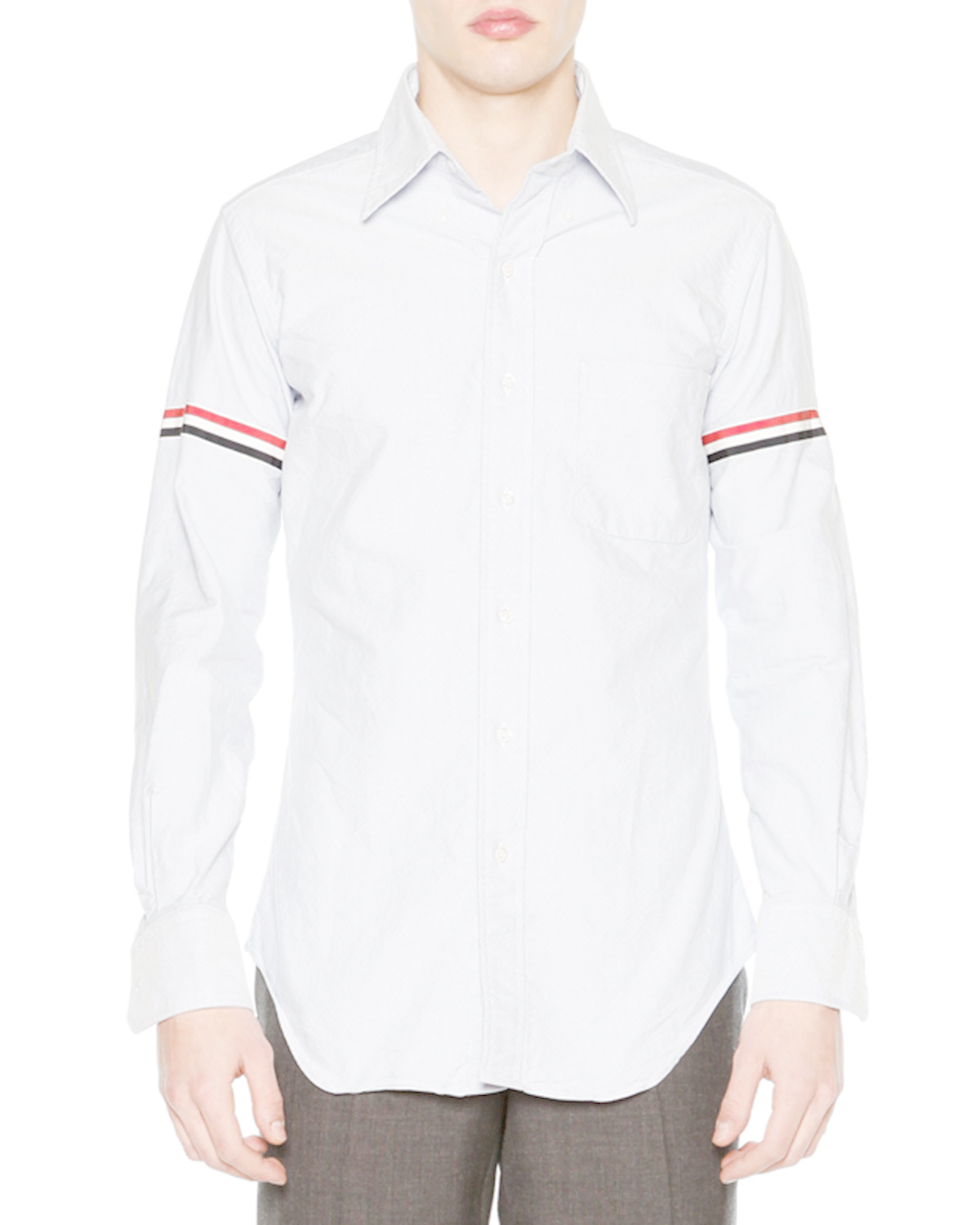 Thom browne classic arm stripe long sleeve oxford shirt in for Thom browne shirt sale