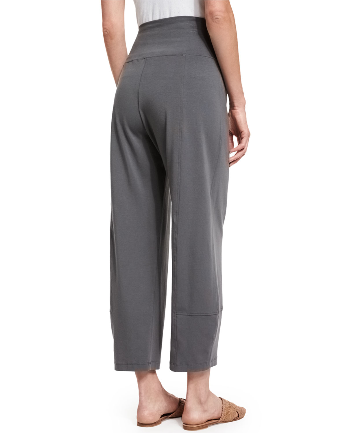 Lyst Eileen Fisher Fold Waist Cropped Lantern Pants In Gray