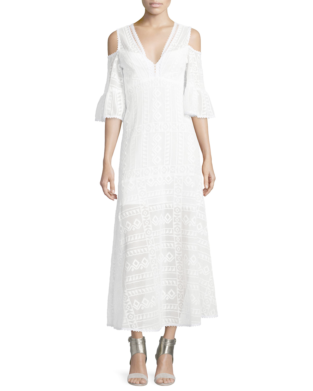 Nanette Lepore Cold shoulder Cotton Lace Midi Dress In White IVORY