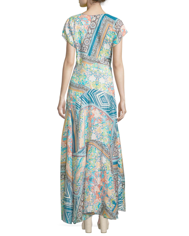 Lyst - Johnny Was Roseton Short-sleeve Printed Maxi Dress ...