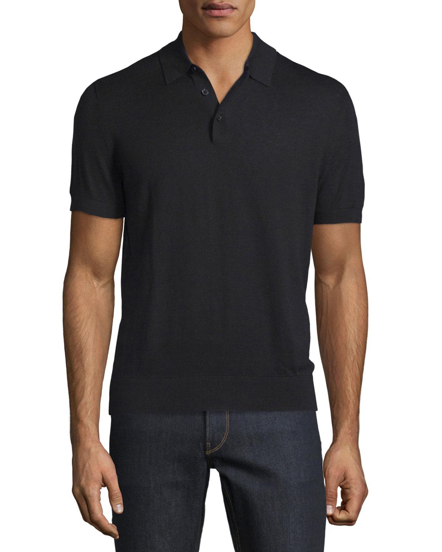 Michael Kors Cotton Silk Short Sleeve Polo Shirt In Black