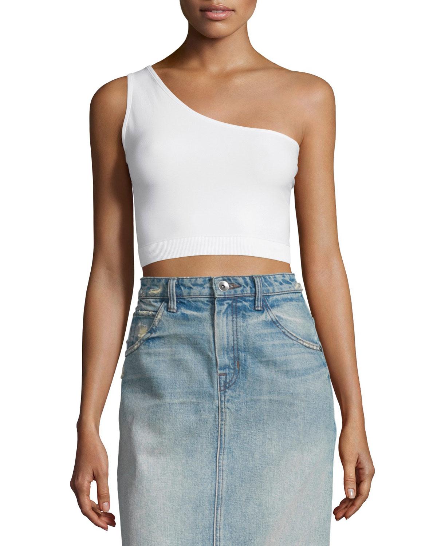 helmut lang one shoulder cropped stretch knit bra top in. Black Bedroom Furniture Sets. Home Design Ideas