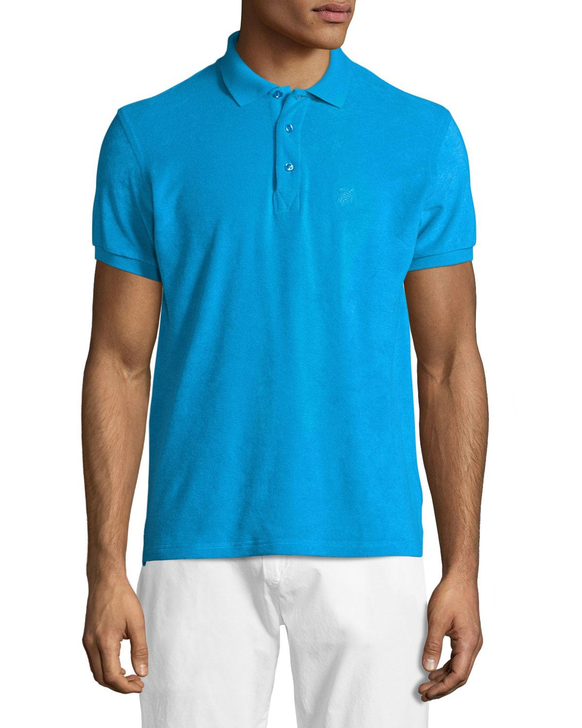Vilebrequin terry short sleeve polo shirt in blue for men for Mens terry cloth polo shirt