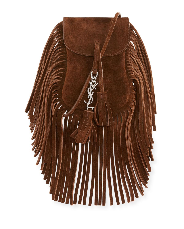 5f2a9e4f06b9 Lyst - Saint Laurent Anita Toy Flat Suede Fringe Cross-Body Bag in Brown