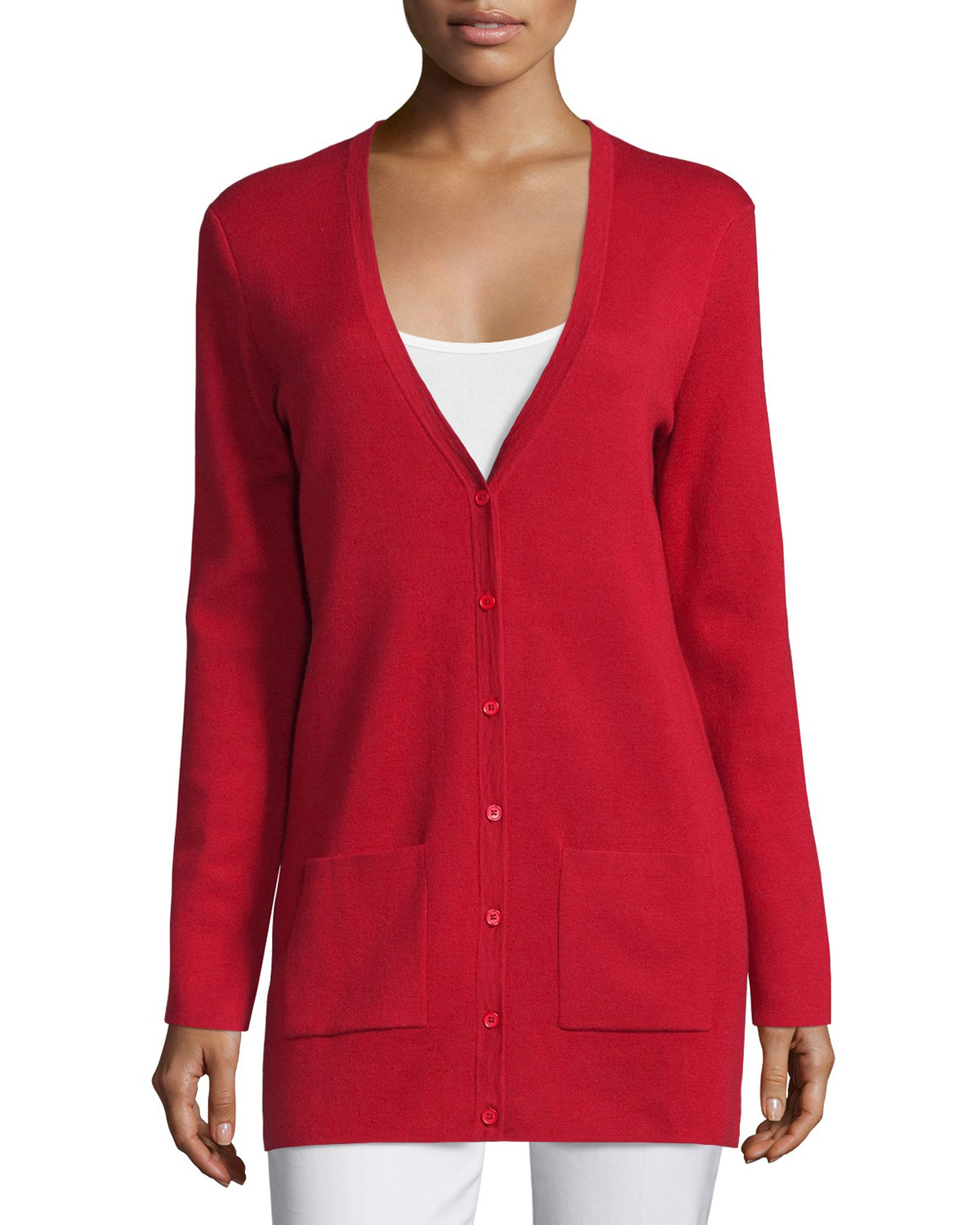 Michael kors Button-front Long Cashmere Cardigan in Red ...