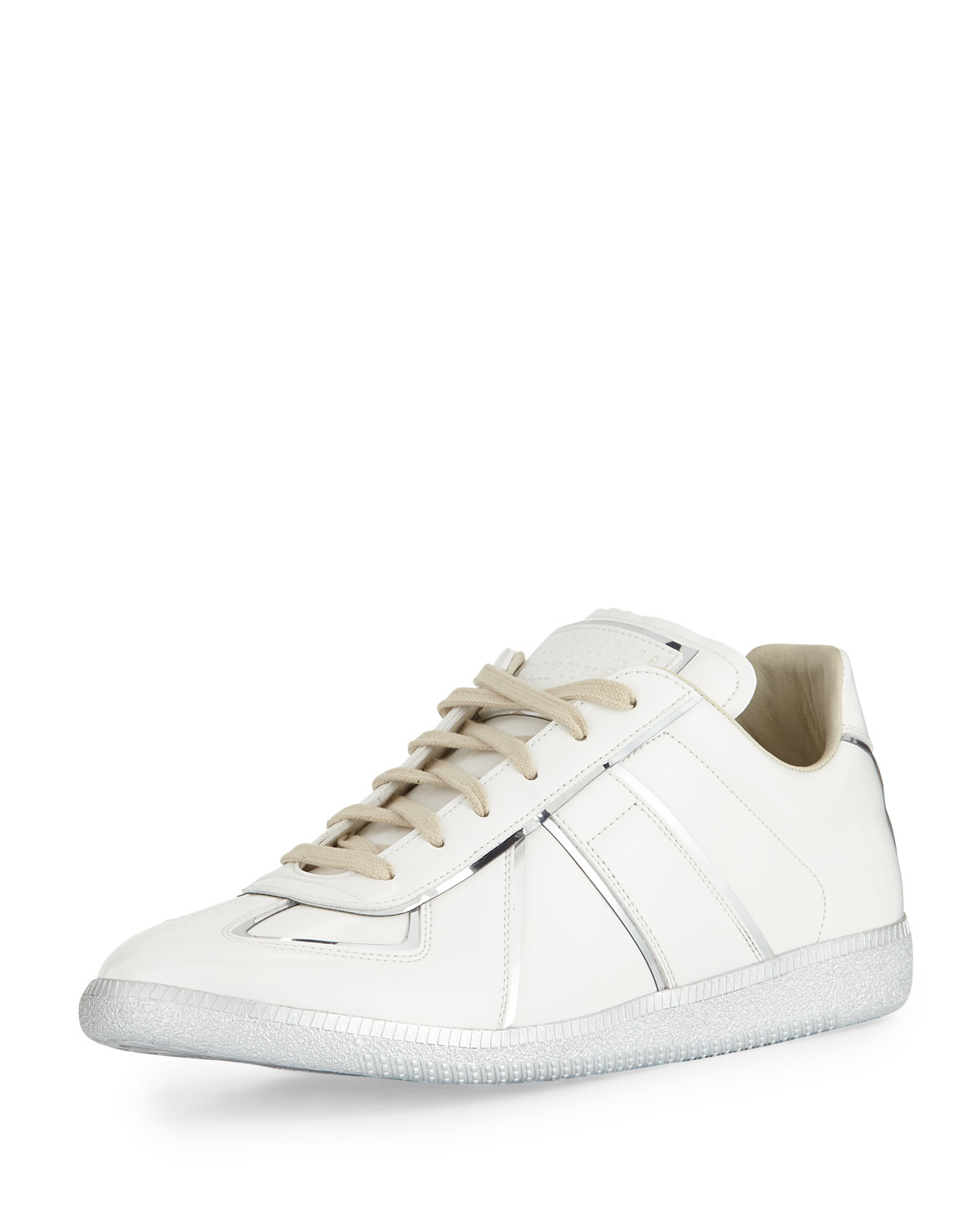 maison margiela replica metal trim low top sneaker in white for men lyst. Black Bedroom Furniture Sets. Home Design Ideas