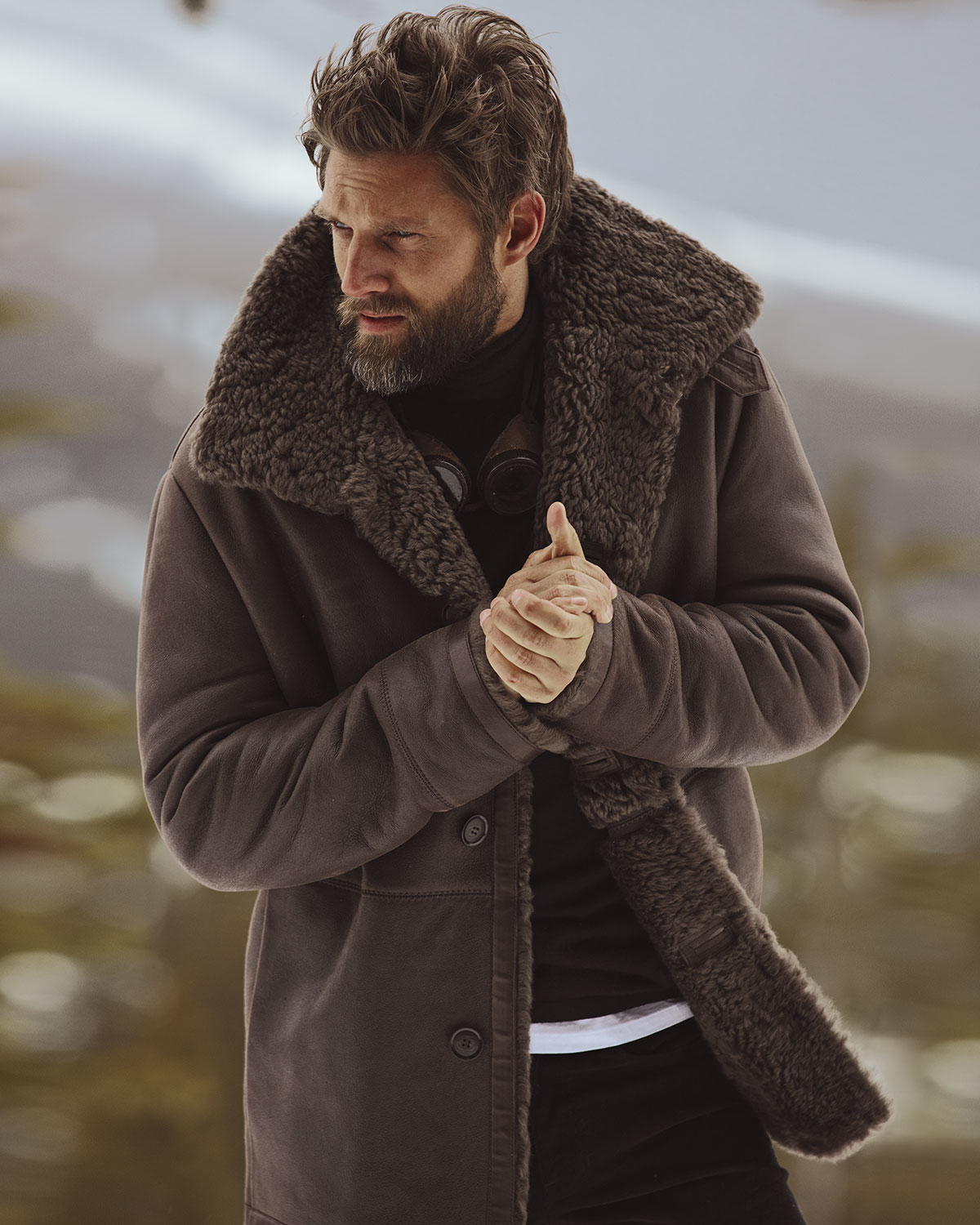 Vince Leather Shearling Lined Coat In Brown For Men Lyst