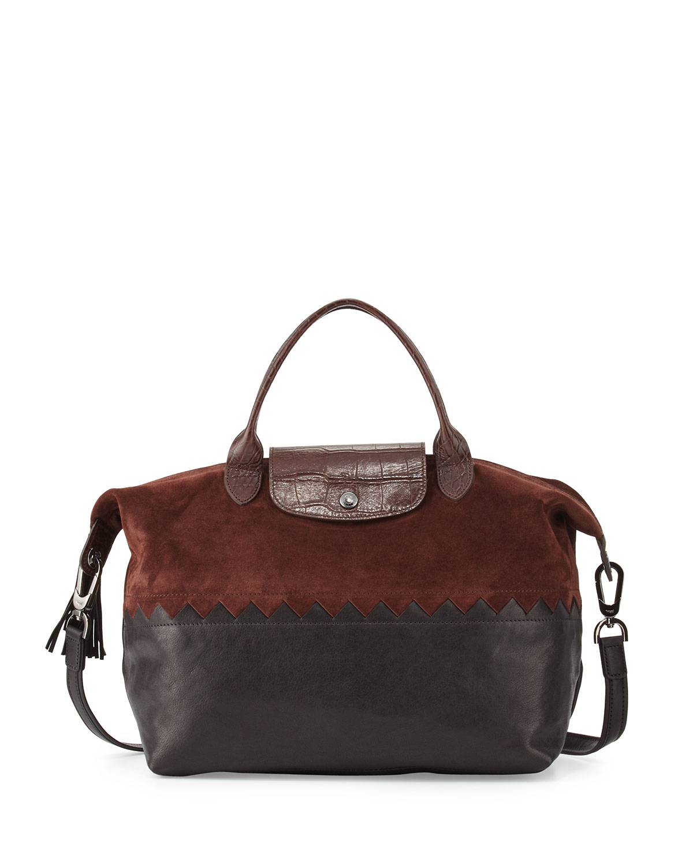 imitation chloe handbags - Longchamp Le Pliage Cuir Cody Medium Handbag With Strap in Brown ...