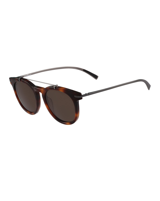 0af8cd8d791d Lyst - Ferragamo Round Sunglasses W metal Bar in Black