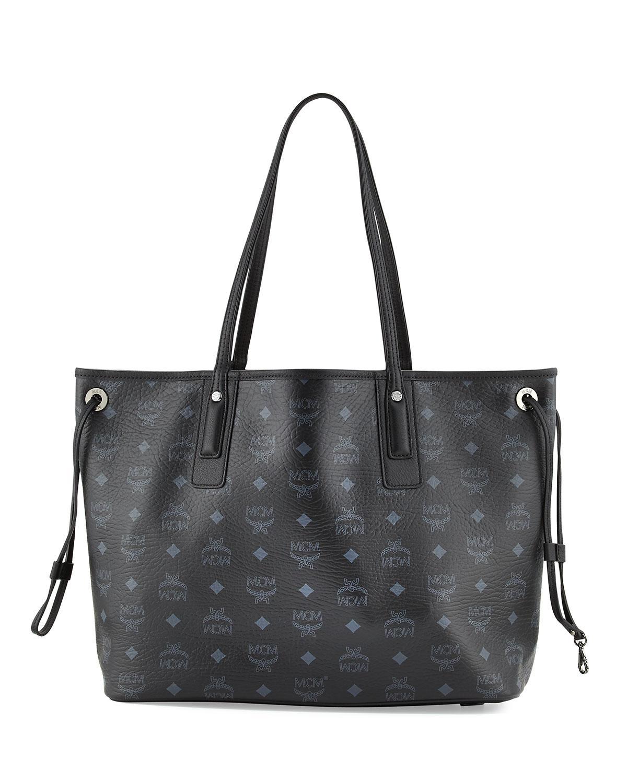 Mcm Liz Reversible Medium Shopper Tote Bag in Black