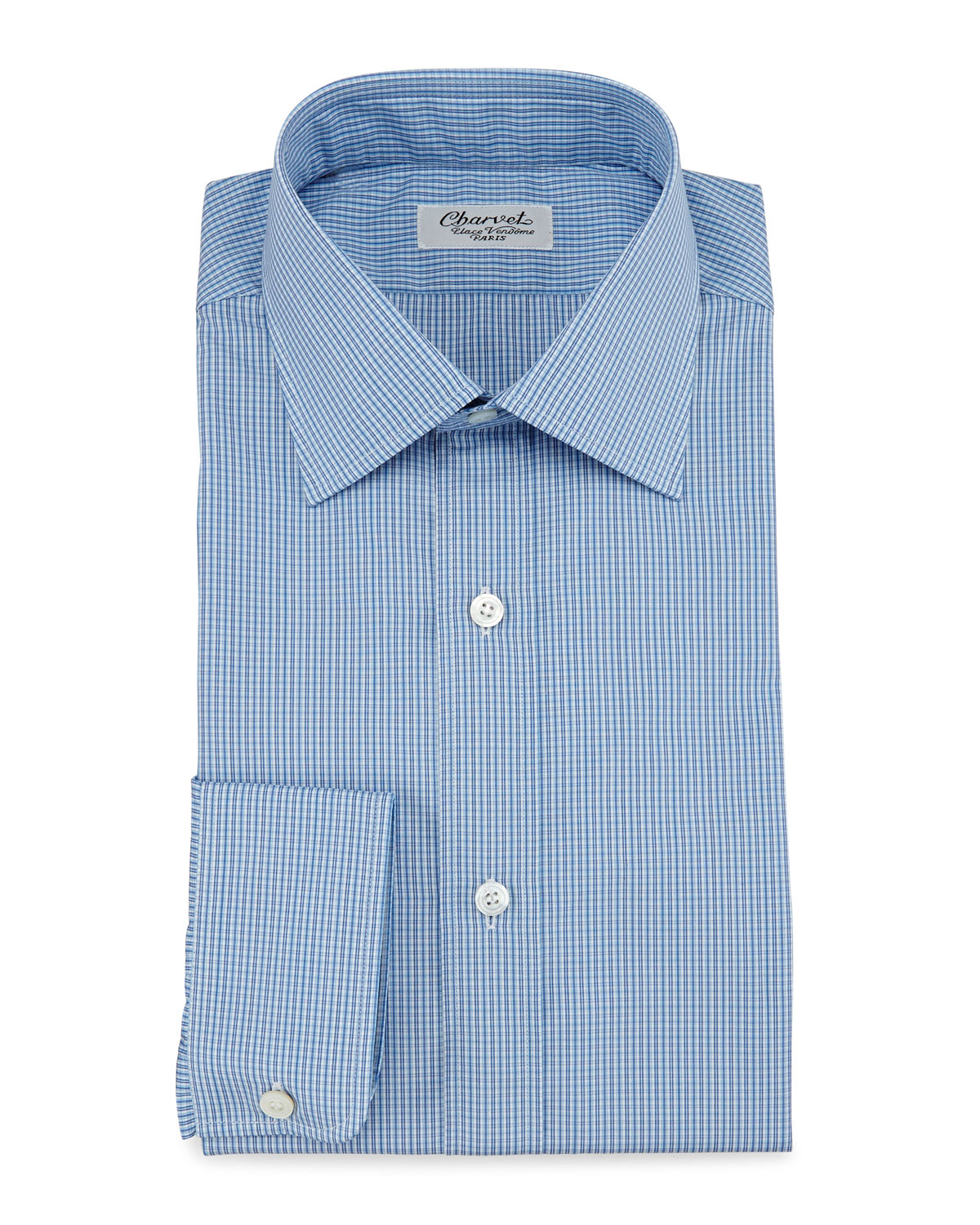 Lyst Charvet Micro Check Barrel Cuff Dress Shirt In Blue